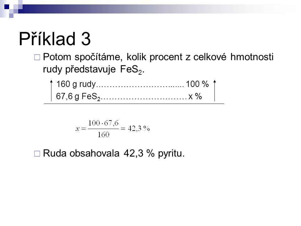  Potom spočítáme, kolik procent z celkové hmotnosti rudy představuje FeS 2. 160 g rudy..……………………....... 100 % 67,6 g FeS 2 …………………………. x %  Ruda obs