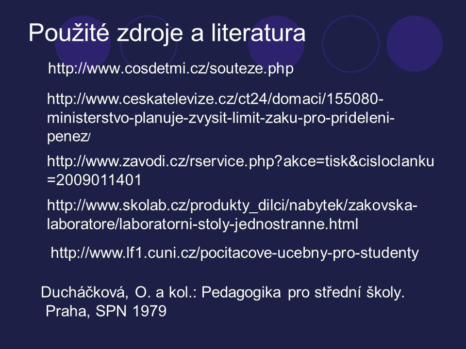 Použité zdroje a literatura http://www.cosdetmi.cz/souteze.php Ducháčková, O.