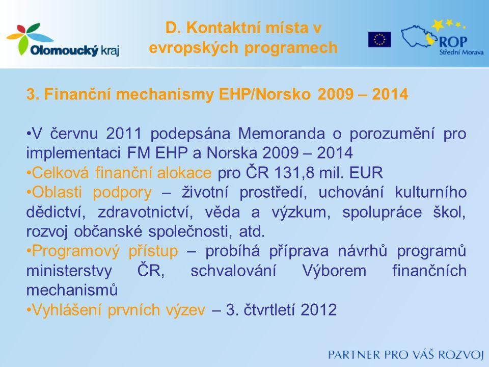 3. Finanční mechanismy EHP/Norsko 2009 – 2014 V červnu 2011 podepsána Memoranda o porozumění pro implementaci FM EHP a Norska 2009 – 2014 Celková fina