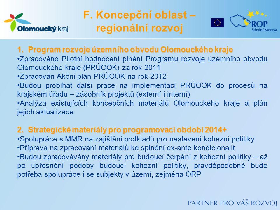 F. Koncepční oblast – regionální rozvoj 1.