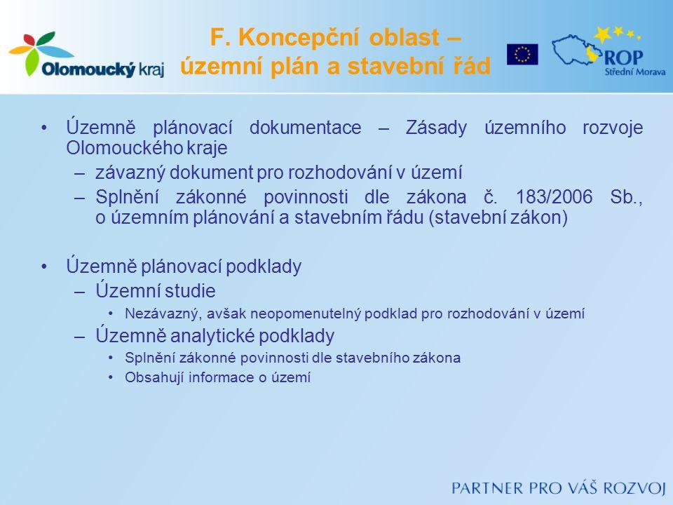 F. Koncepční oblast – územní plán a stavební řád Územně plánovací dokumentace – Zásady územního rozvoje Olomouckého kraje –závazný dokument pro rozhod