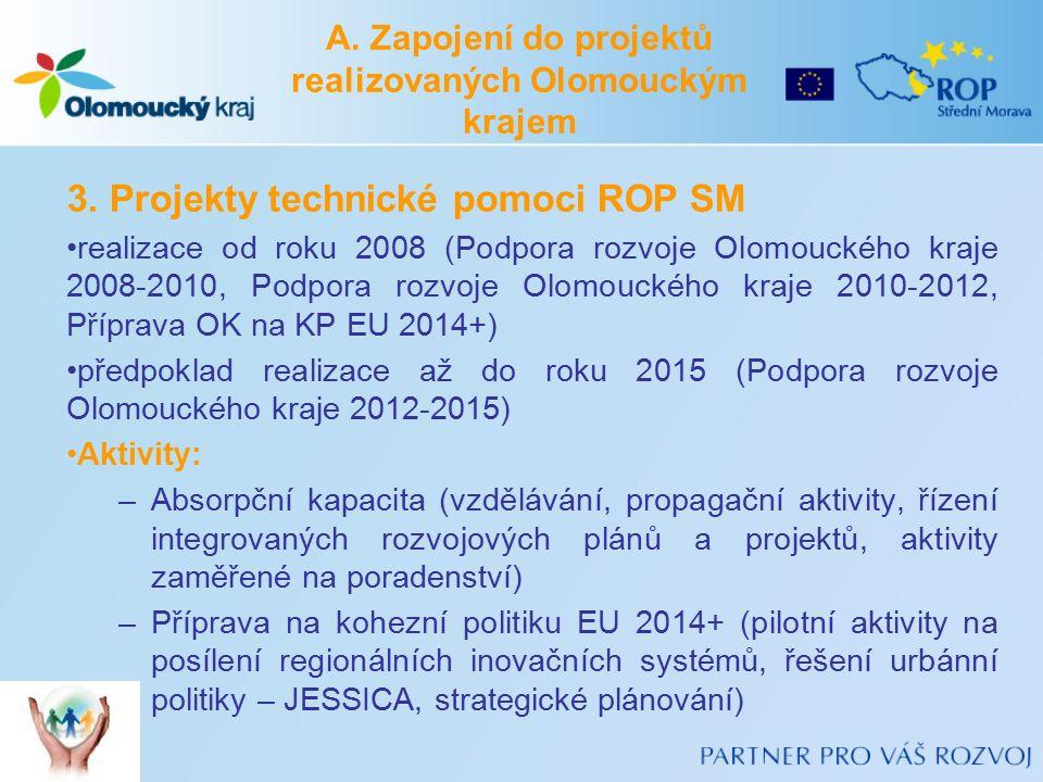 3. Projekty technické pomoci ROP SM realizace od roku 2008 (Podpora rozvoje Olomouckého kraje 2008-2010, Podpora rozvoje Olomouckého kraje 2010-2012,