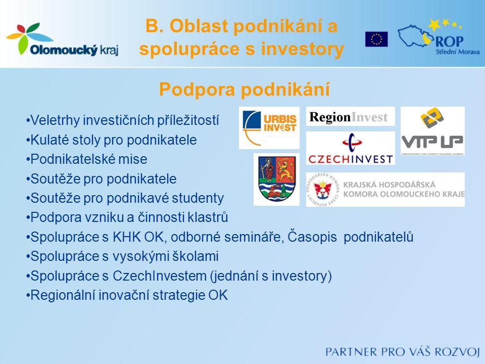 B. Oblast podnikání a spolupráce s investory Podpora podnikání Veletrhy investičních příležitostí Kulaté stoly pro podnikatele Podnikatelské mise Sout