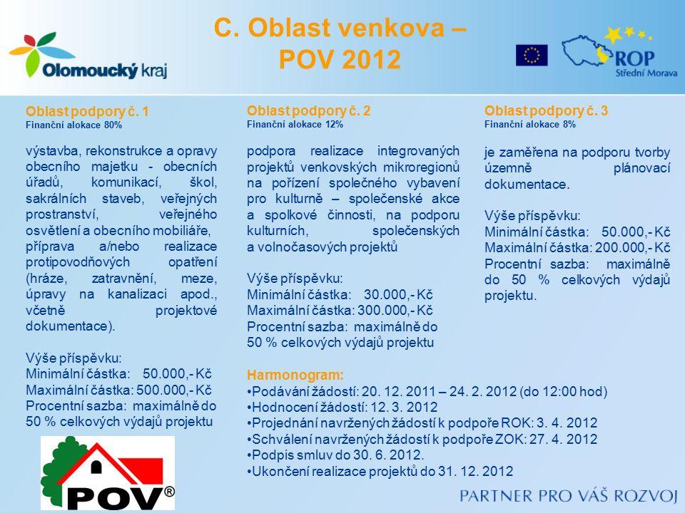 C. Oblast venkova – POV 2012 Oblast podpory č.