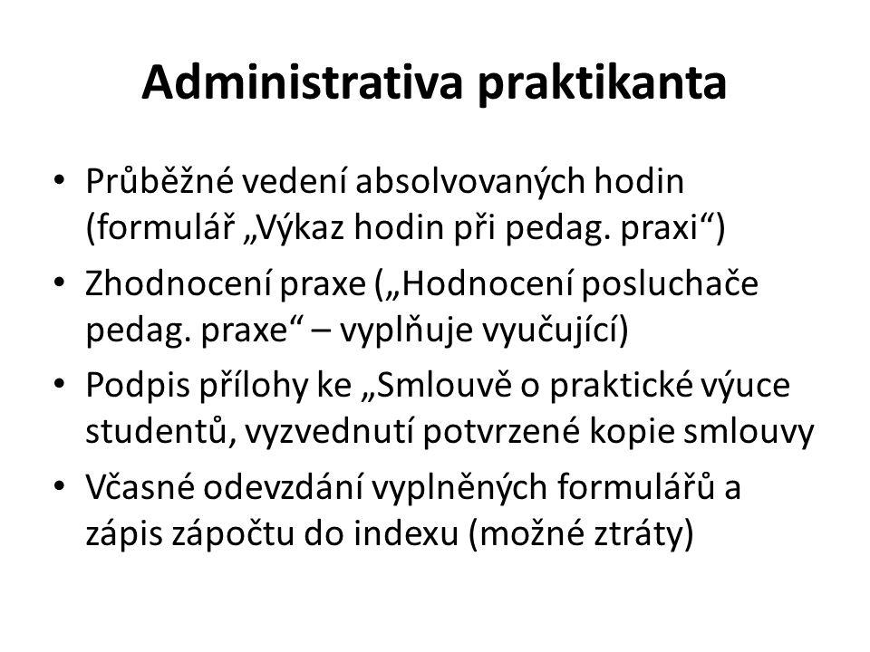 """Administrativa praktikanta Průběžné vedení absolvovaných hodin (formulář """"Výkaz hodin při pedag."""