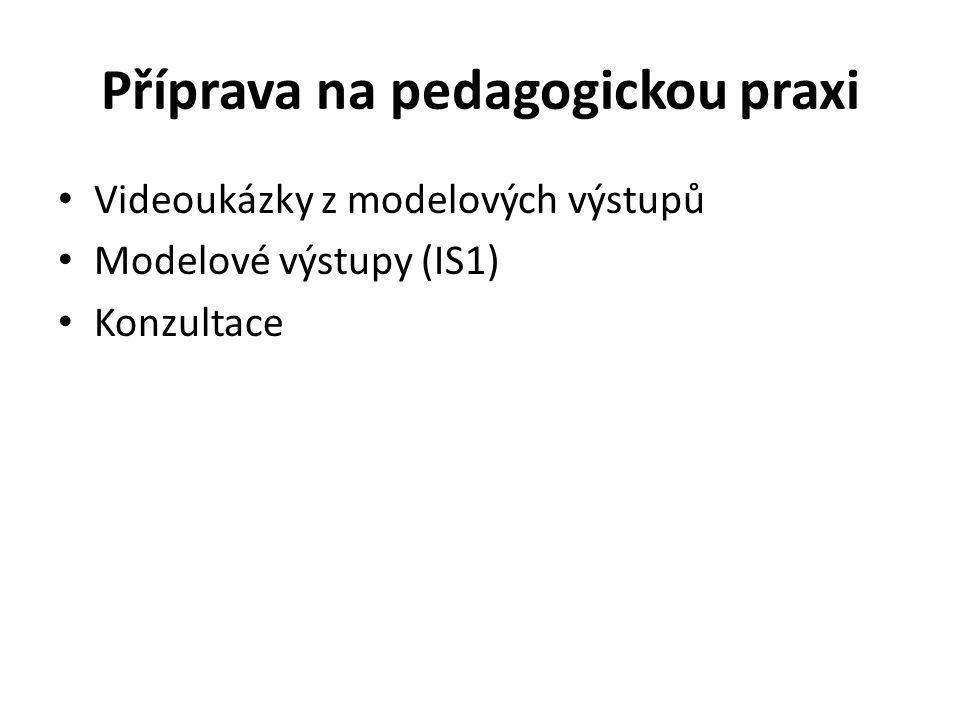 Příprava na pedagogickou praxi Videoukázky z modelových výstupů Modelové výstupy (IS1) Konzultace