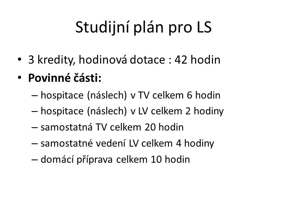 Studijní plán pro LS 3 kredity, hodinová dotace : 42 hodin Povinné části: – hospitace (náslech) v TV celkem 6 hodin – hospitace (náslech) v LV celkem 2 hodiny – samostatná TV celkem 20 hodin – samostatné vedení LV celkem 4 hodiny – domácí příprava celkem 10 hodin