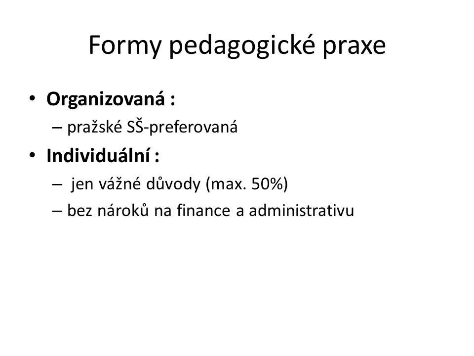 Formy pedagogické praxe Organizovaná : – pražské SŠ-preferovaná Individuální : – jen vážné důvody (max.