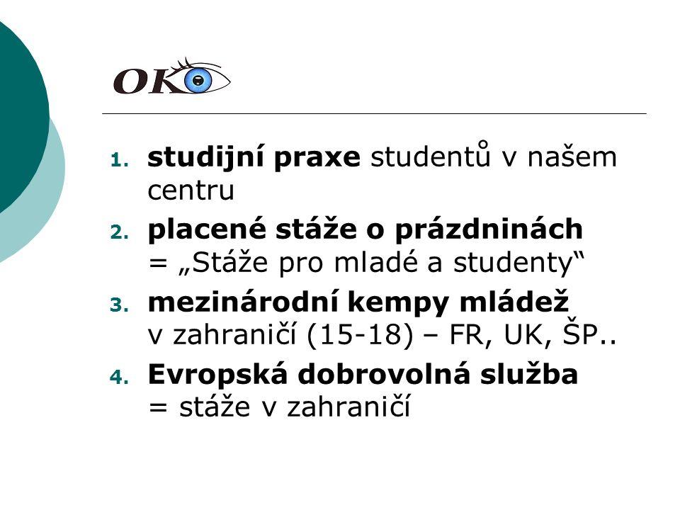 1.studijní praxe studentů v našem centru 2.