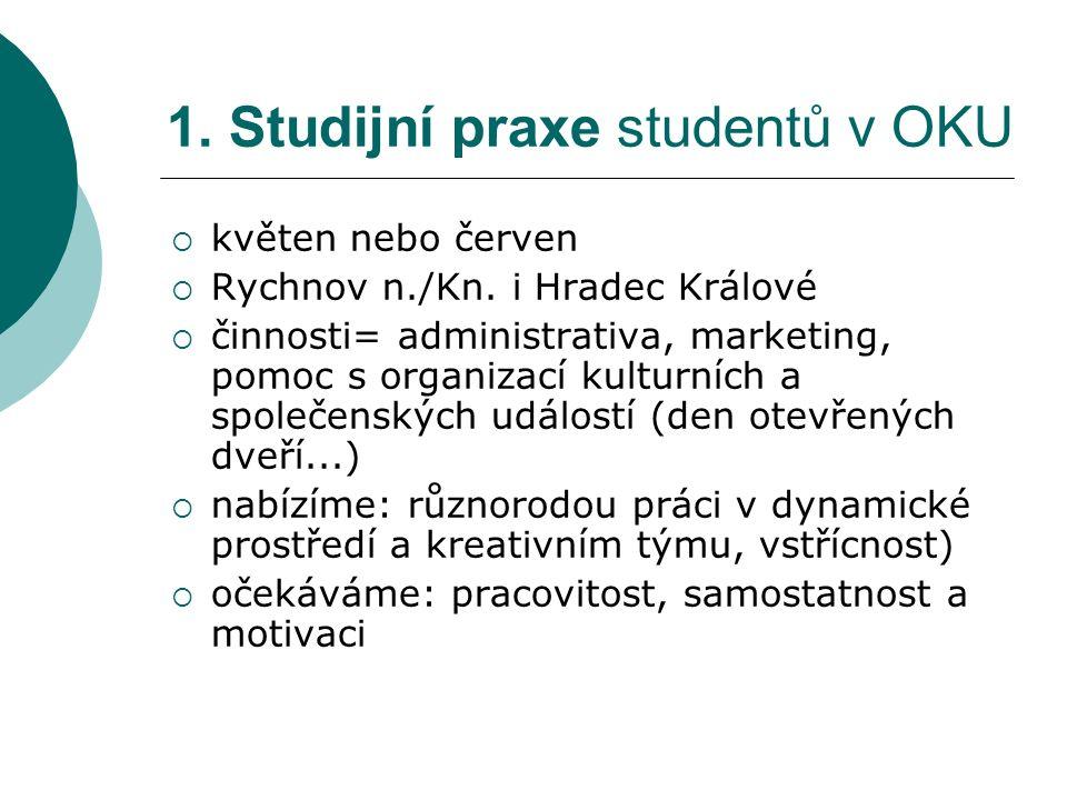 1. studijní praxe studentů v našem centru 2.