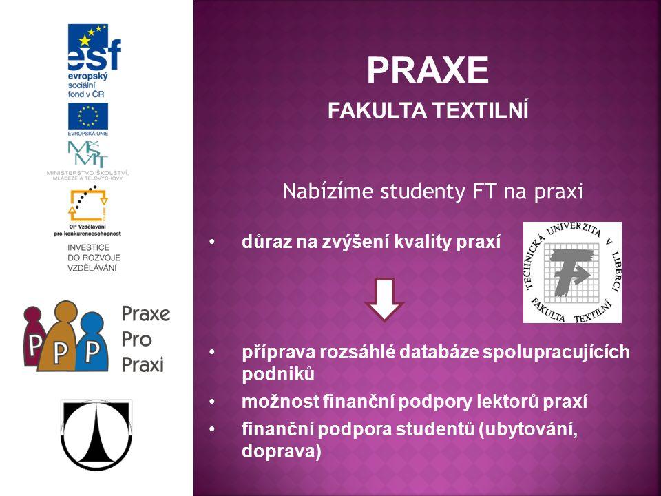 PRAXE FAKULTA TEXTILNÍ Nabízíme studenty FT na praxi důraz na zvýšení kvality praxí příprava rozsáhlé databáze spolupracujících podniků možnost finanční podpory lektorů praxí finanční podpora studentů (ubytování, doprava)
