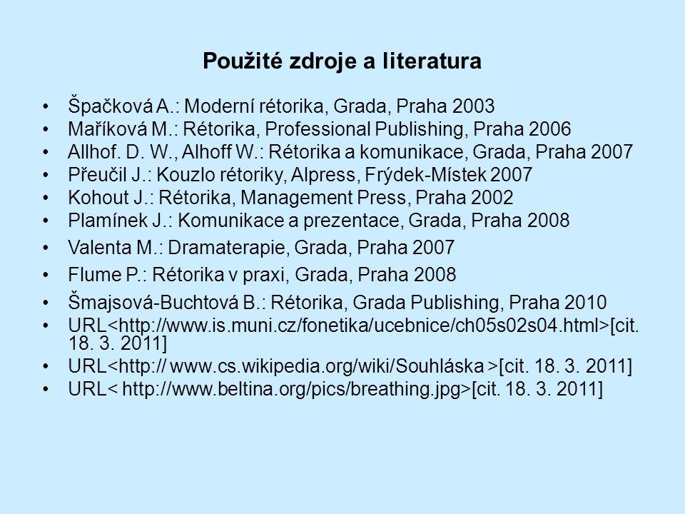 Použité zdroje a literatura Špačková A.: Moderní rétorika, Grada, Praha 2003 Maříková M.: Rétorika, Professional Publishing, Praha 2006 Allhof. D. W.,