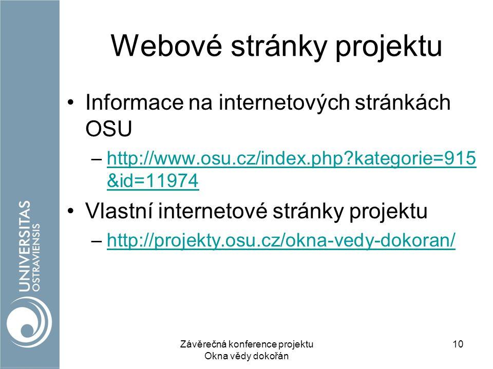 Webové stránky projektu Informace na internetových stránkách OSU –http://www.osu.cz/index.php?kategorie=915 &id=11974http://www.osu.cz/index.php?kategorie=915 &id=11974 Vlastní internetové stránky projektu –http://projekty.osu.cz/okna-vedy-dokoran/http://projekty.osu.cz/okna-vedy-dokoran/ Závěrečná konference projektu Okna vědy dokořán 10