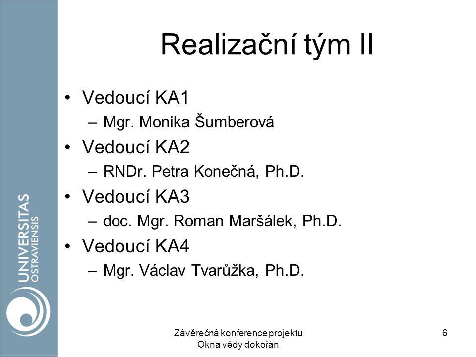 Realizační tým II Vedoucí KA1 –Mgr. Monika Šumberová Vedoucí KA2 –RNDr.