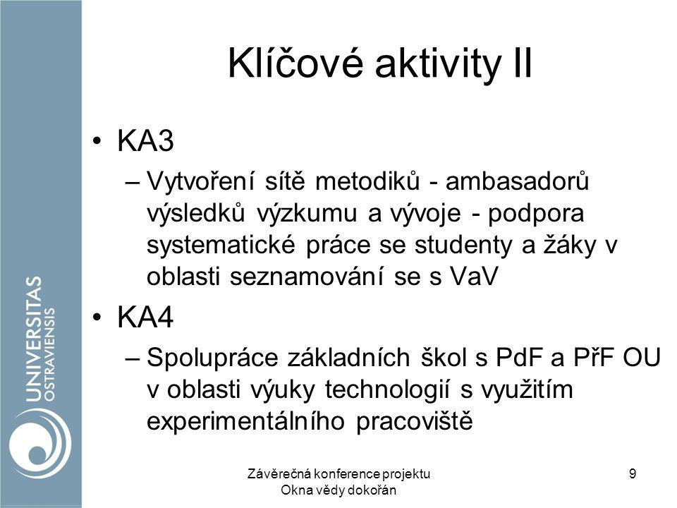 Klíčové aktivity II KA3 –Vytvoření sítě metodiků - ambasadorů výsledků výzkumu a vývoje - podpora systematické práce se studenty a žáky v oblasti seznamování se s VaV KA4 –Spolupráce základních škol s PdF a PřF OU v oblasti výuky technologií s využitím experimentálního pracoviště Závěrečná konference projektu Okna vědy dokořán 9