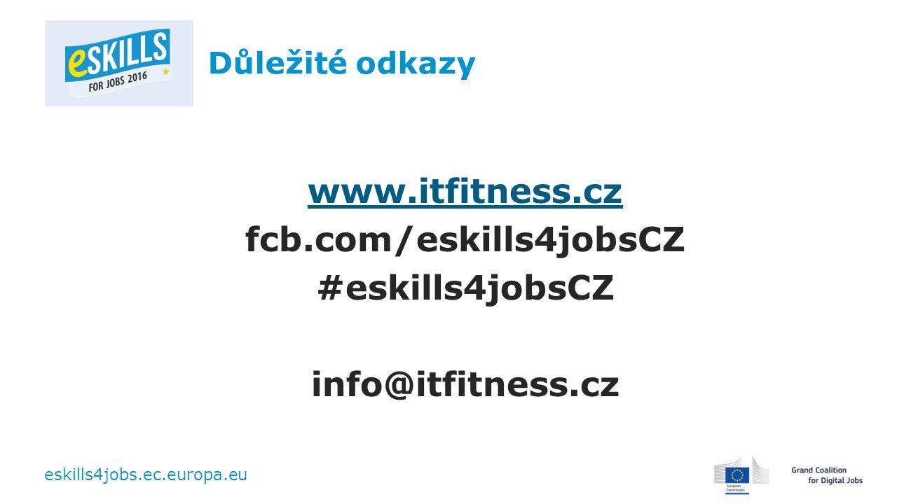 eskills4jobs.ec.europa.eu Důležité odkazy www.itfitness.cz fcb.com/eskills4jobsCZ #eskills4jobsCZ info@itfitness.cz