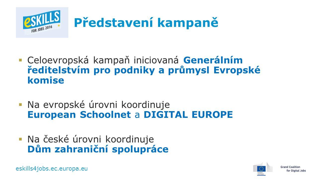 eskills4jobs.ec.europa.eu Představení kampaně  Celoevropská kampaň iniciovaná Generálním ředitelstvím pro podniky a průmysl Evropské komise  Na evropské úrovni koordinuje European Schoolnet a DIGITAL EUROPE  Na české úrovni koordinuje Dům zahraniční spolupráce