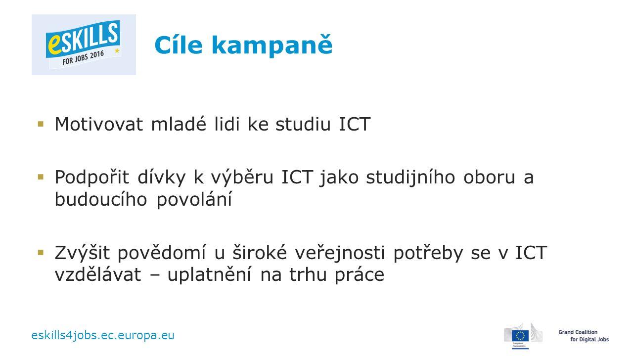 eskills4jobs.ec.europa.eu Cíle kampaně  Motivovat mladé lidi ke studiu ICT  Podpořit dívky k výběru ICT jako studijního oboru a budoucího povolání  Zvýšit povědomí u široké veřejnosti potřeby se v ICT vzdělávat – uplatnění na trhu práce