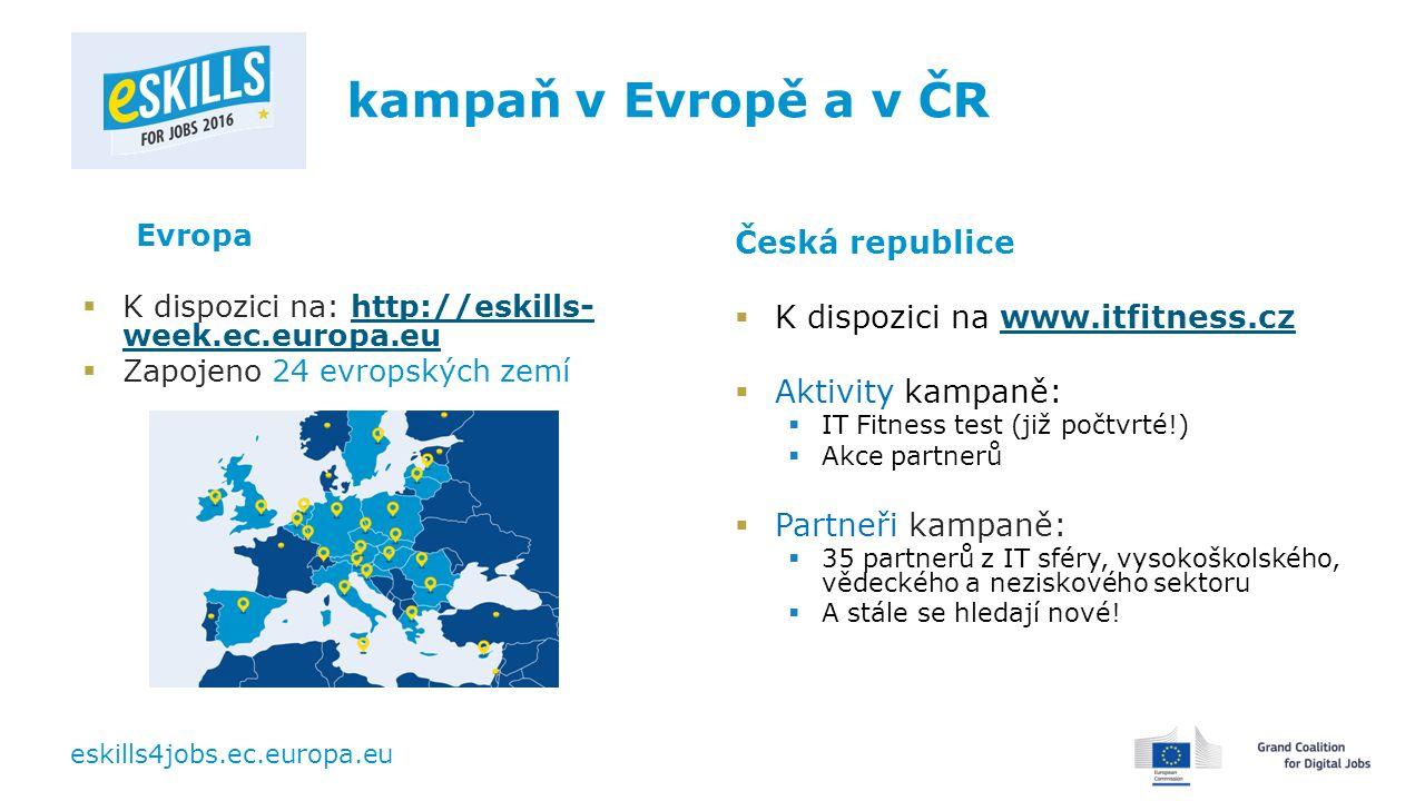 eskills4jobs.ec.europa.eu kampaň v Evropě a v ČR Evropa  K dispozici na: http://eskills- week.ec.europa.euhttp://eskills- week.ec.europa.eu  Zapojeno 24 evropských zemí Česká republice  K dispozici na www.itfitness.czwww.itfitness.cz  Aktivity kampaně:  IT Fitness test (již počtvrté!)  Akce partnerů  Partneři kampaně:  35 partnerů z IT sféry, vysokoškolského, vědeckého a neziskového sektoru  A stále se hledají nové!