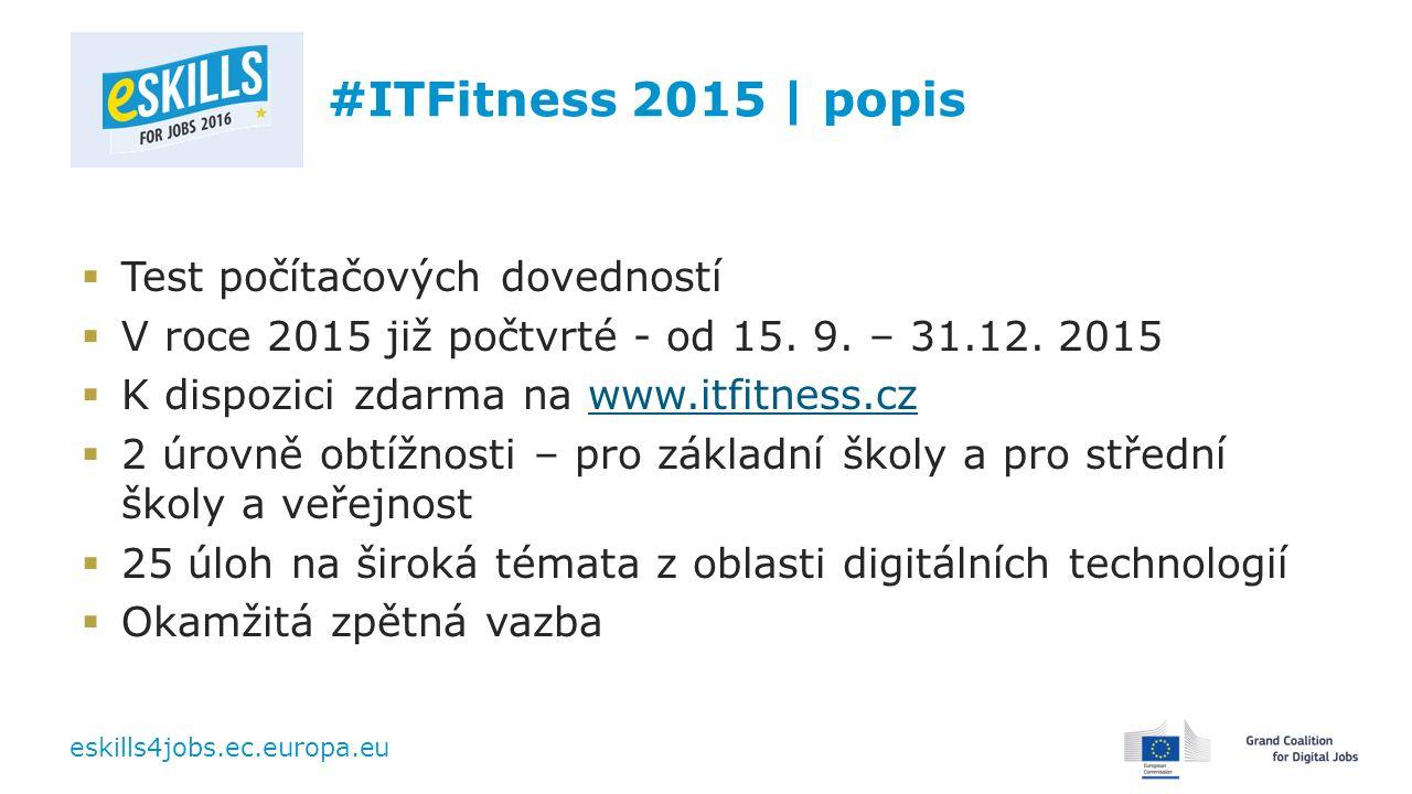 eskills4jobs.ec.europa.eu #ITFitness 2015 | popis  Test počítačových dovedností  V roce 2015 již počtvrté - od 15. 9. – 31.12. 2015  K dispozici zd