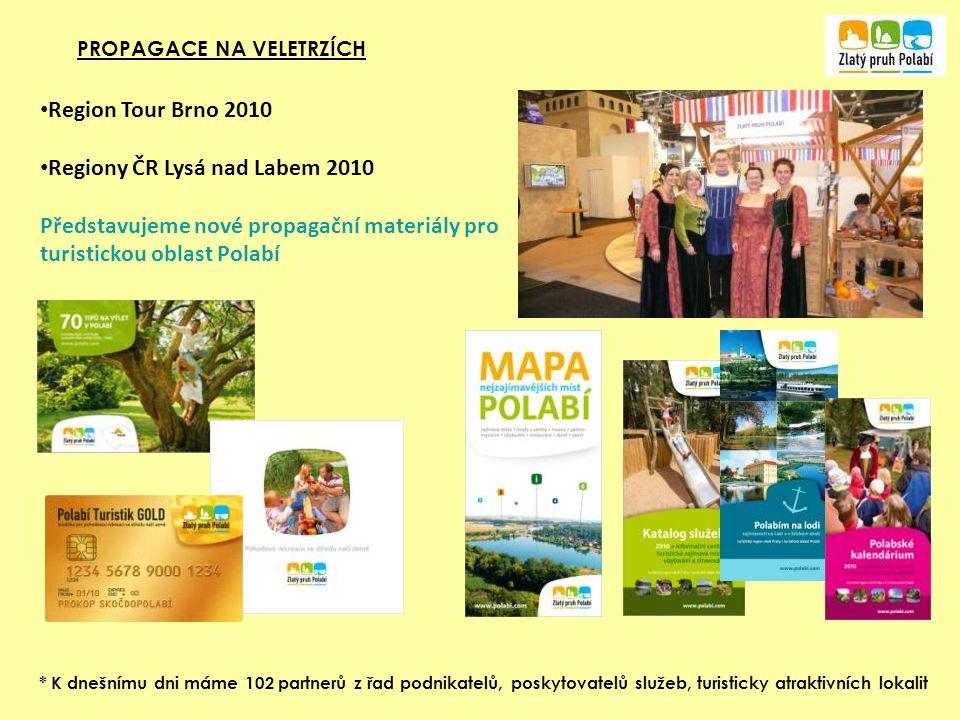 PROPAGACE NA VELETRZÍCH * K dnešnímu dni máme 102 partnerů z řad podnikatelů, poskytovatelů služeb, turisticky atraktivních lokalit Region Tour Brno 2010 Regiony ČR Lysá nad Labem 2010 Představujeme nové propagační materiály pro turistickou oblast Polabí