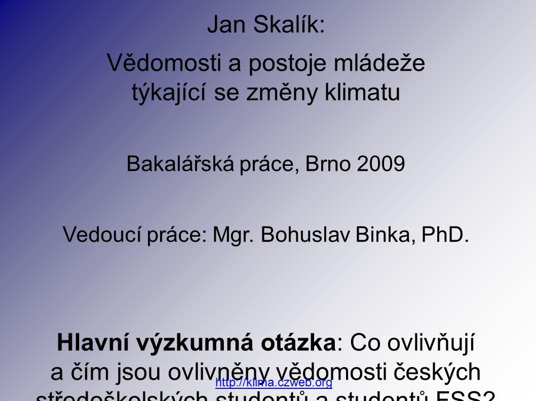 Jan Skalík: Vědomosti a postoje mládeže týkající se změny klimatu Bakalářská práce, Brno 2009 Vedoucí práce: Mgr.