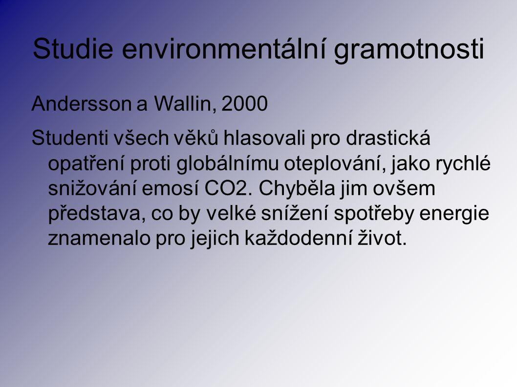 Studie environmentální gramotnosti Andersson a Wallin, 2000 Studenti všech věků hlasovali pro drastická opatření proti globálnímu oteplování, jako rychlé snižování emosí CO2.