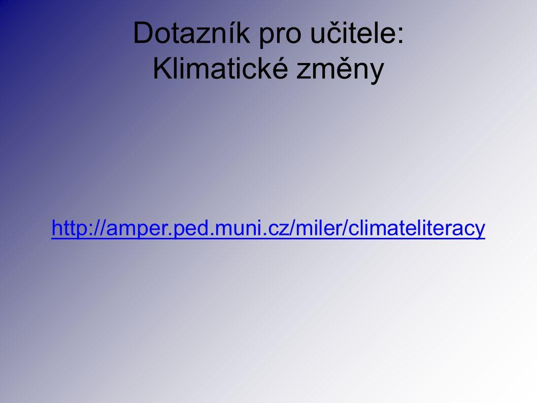 Dotazník pro učitele: Klimatické změny http://amper.ped.muni.cz/miler/climateliteracy