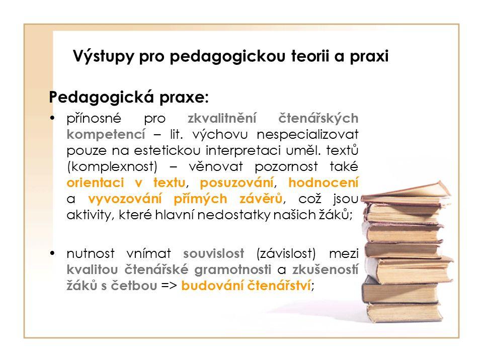 Výstupy pro pedagogickou teorii a praxi Pedagogická praxe: přínosné pro zkvalitnění čtenářských kompetencí – lit.