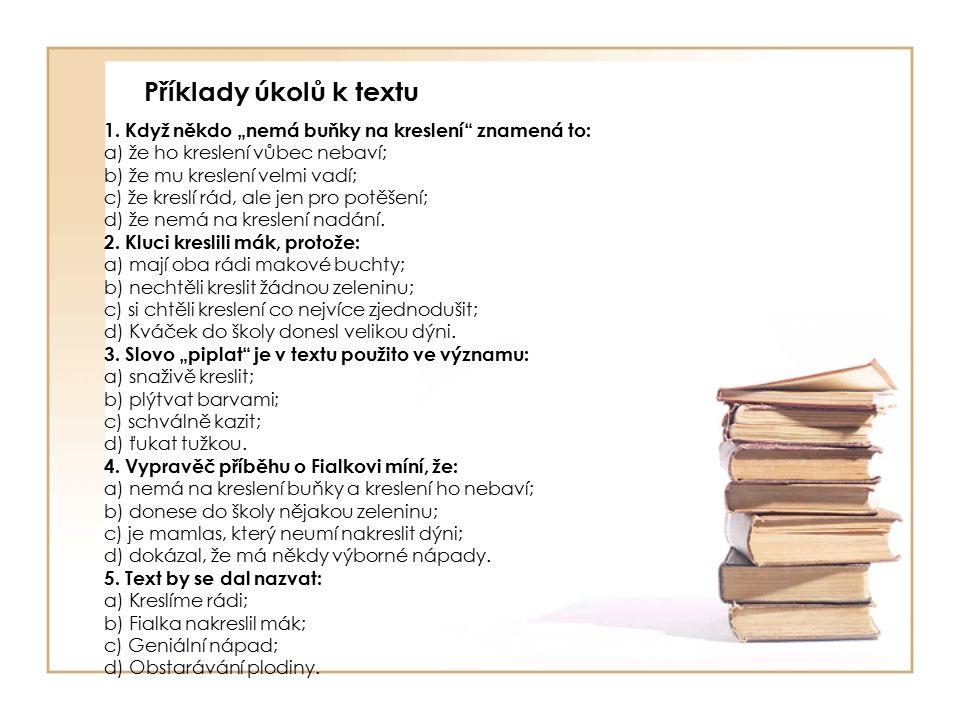 Příklady úkolů k textu 1.