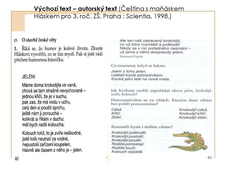 Výchozí text – autorský text (Čeština s maňáskem Hláskem pro 3. roč. ZŠ, Praha : Scientia, 1998.)
