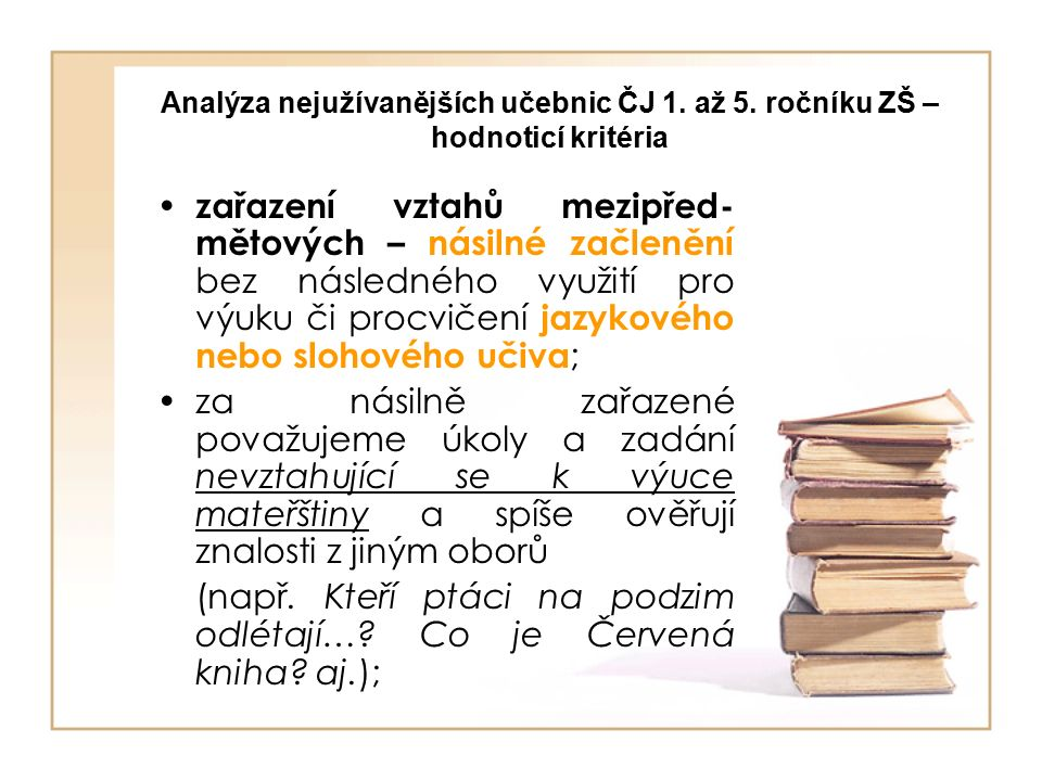 Analýza nejužívanějších učebnic ČJ 1. až 5.