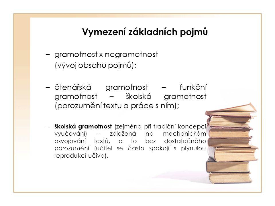 Vymezení základních pojmů –gramotnost x negramotnost (vývoj obsahu pojmů); –čtenářská gramotnost – funkční gramotnost – školská gramotnost (porozumění textu a práce s ním); – školská gramotnost (zejména při tradiční koncepci vyučování) = založená na mechanickém osvojování textů, a to bez dostatečného porozumění (učitel se často spokojí s plynulou reprodukcí učiva).