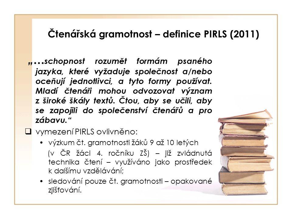 """Čtenářská gramotnost – definice PIRLS (2011) """"… schopnost rozumět formám psaného jazyka, které vyžaduje společnost a/nebo oceňují jednotlivci, a tyto formy používat."""