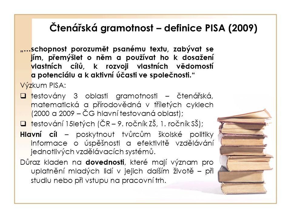 """Čtenářská gramotnost – definice PISA (2009) """"…schopnost porozumět psanému textu, zabývat se jím, přemýšlet o něm a používat ho k dosažení vlastních cílů, k rozvoji vlastních vědomostí a potenciálu a k aktivní účasti ve společnosti. Výzkum PISA:  testovány 3 oblasti gramotnosti – čtenářská, matematická a přírodovědná v tříletých cyklech (2000 a 2009 – ČG hlavní testovaná oblast);  testování 15letých (ČR – 9."""
