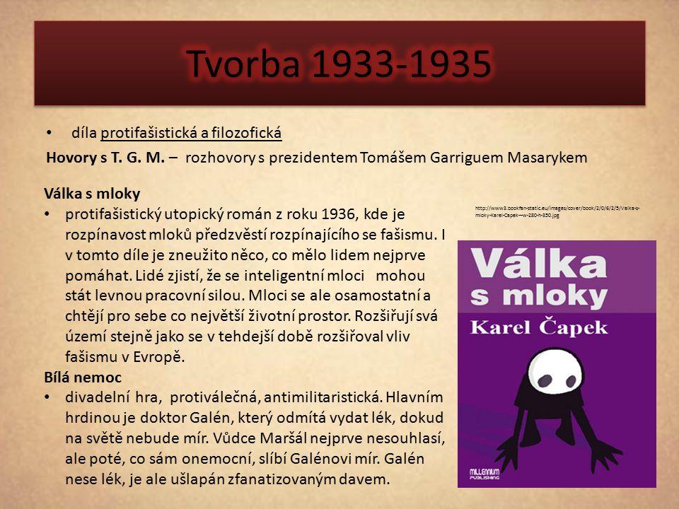 díla protifašistická a filozofická Hovory s T. G. M. – rozhovory s prezidentem Tomášem Garriguem Masarykem http://www3.bookfan-static.eu/images/cover/