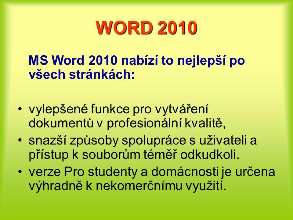 WORD 2010 MS Word 2010 nabízí to nejlepší po všech stránkách: vylepšené funkce pro vytváření dokumentů v profesionální kvalitě, snazší způsoby spolupr