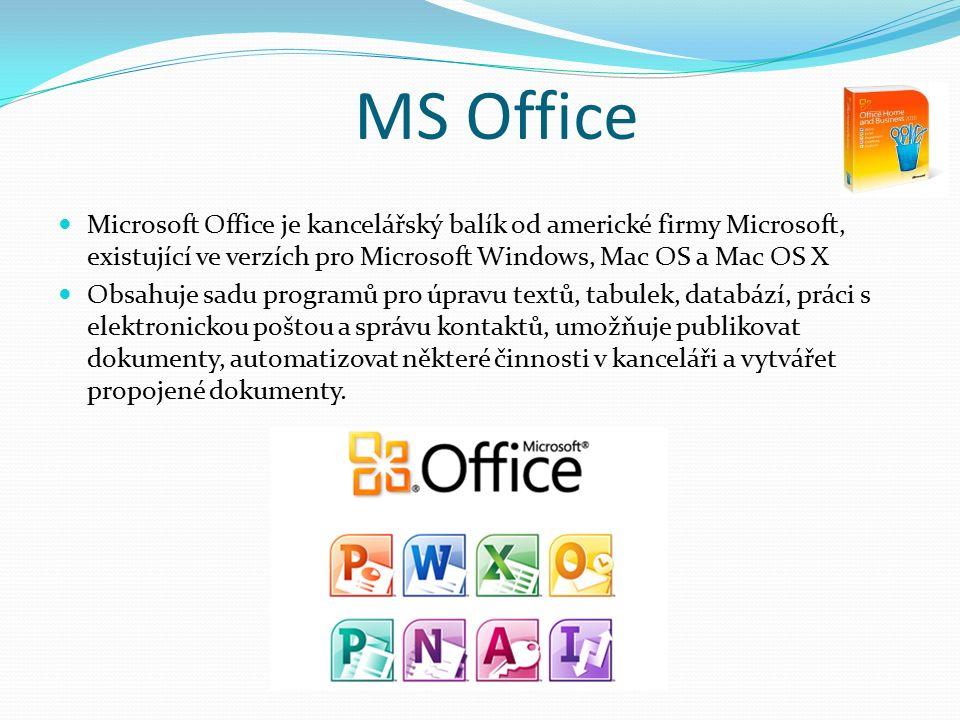 Microsoft Office je kancelářský balík od americké firmy Microsoft, existující ve verzích pro Microsoft Windows, Mac OS a Mac OS X Obsahuje sadu programů pro úpravu textů, tabulek, databází, práci s elektronickou poštou a správu kontaktů, umožňuje publikovat dokumenty, automatizovat některé činnosti v kanceláři a vytvářet propojené dokumenty.