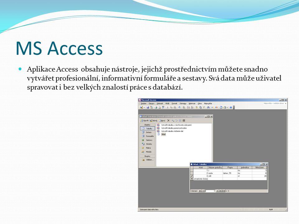 MS Access Aplikace Access obsahuje nástroje, jejichž prostřednictvím můžete snadno vytvářet profesionální, informativní formuláře a sestavy.