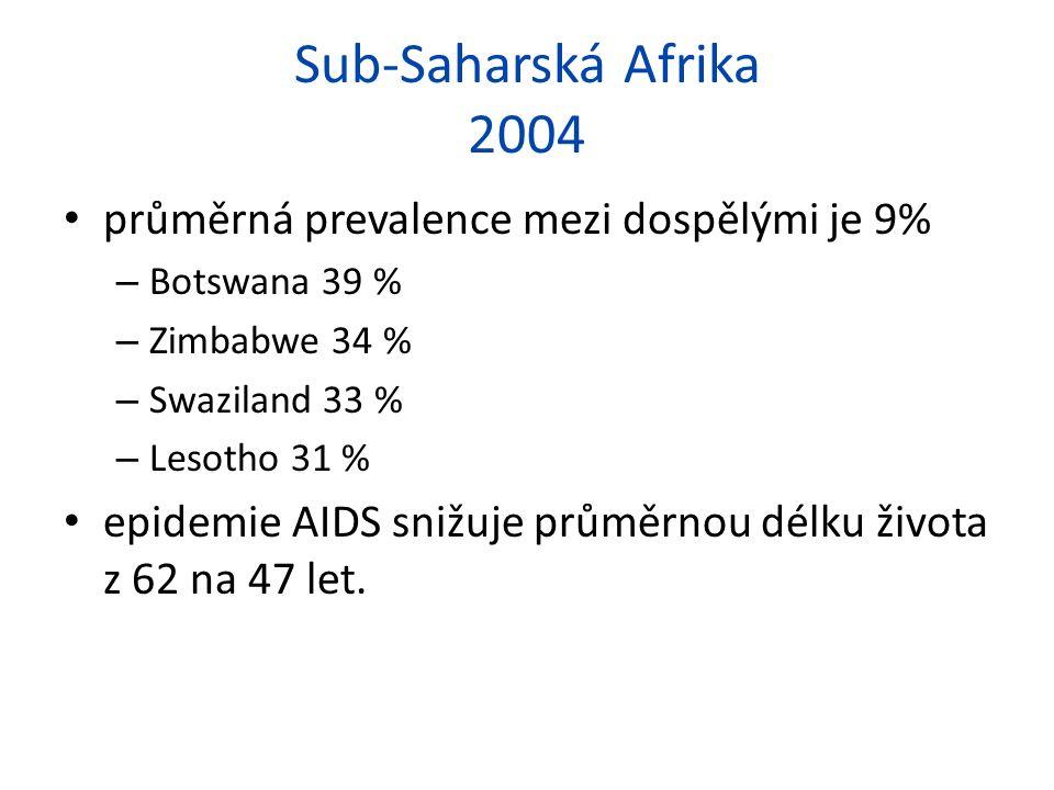 Sub-Saharská Afrika 2004 průměrná prevalence mezi dospělými je 9% – Botswana 39 % – Zimbabwe 34 % – Swaziland 33 % – Lesotho 31 % epidemie AIDS snižuje průměrnou délku života z 62 na 47 let.