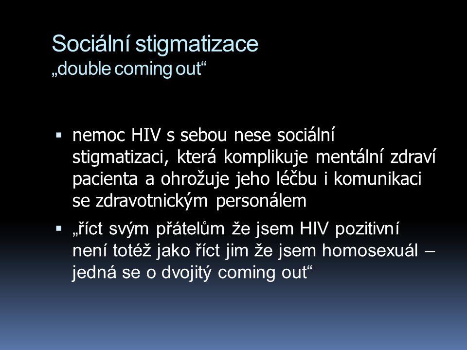 """Sociální stigmatizace """"double coming out  nemoc HIV s sebou nese sociální stigmatizaci, která komplikuje mentální zdraví pacienta a ohrožuje jeho léčbu i komunikaci se zdravotnickým personálem  """"říct svým přátelům že jsem HIV pozitivní není totéž jako říct jim že jsem homosexuál – jedná se o dvojitý coming out"""