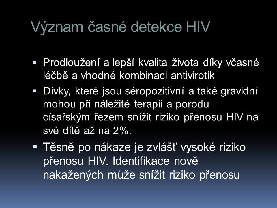 Význam časné detekce HIV  Prodloužení a lepší kvalita života díky včasné léčbě a vhodné kombinaci antivirotik  Dívky, které jsou séropozitivní a také gravidní mohou při náležité terapii a porodu císařským řezem snížit riziko přenosu HIV na své dítě až na 2%.