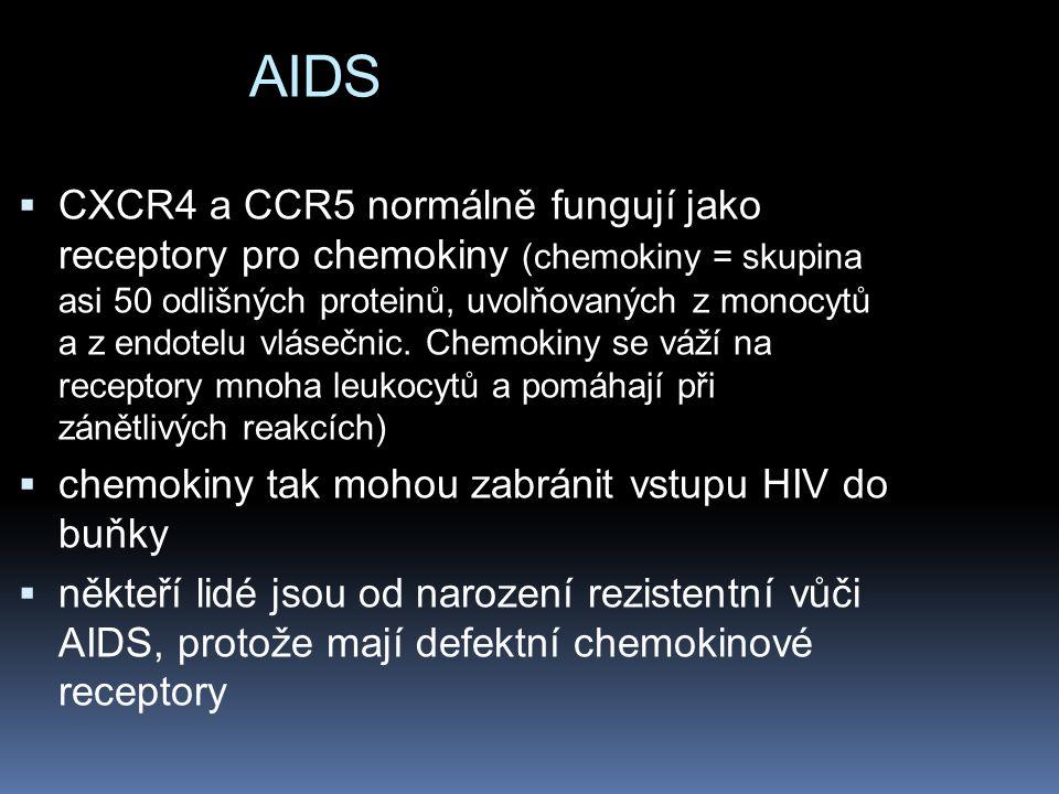 AIDS  CXCR4 a CCR5 normálně fungují jako receptory pro chemokiny (chemokiny = skupina asi 50 odlišných proteinů, uvolňovaných z monocytů a z endotelu vlásečnic.