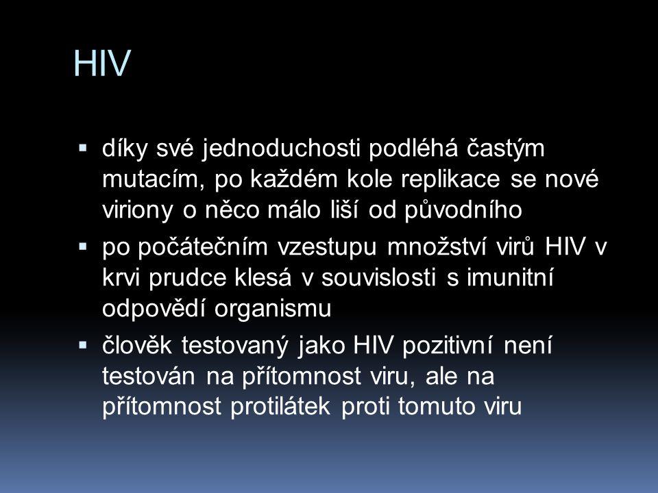 HIV  díky své jednoduchosti podléhá častým mutacím, po každém kole replikace se nové viriony o něco málo liší od původního  po počátečním vzestupu množství virů HIV v krvi prudce klesá v souvislosti s imunitní odpovědí organismu  člověk testovaný jako HIV pozitivní není testován na přítomnost viru, ale na přítomnost protilátek proti tomuto viru