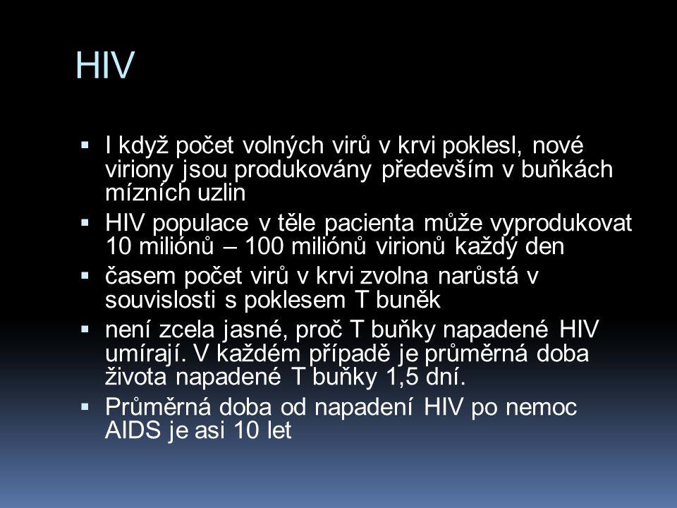 HIV  I když počet volných virů v krvi poklesl, nové viriony jsou produkovány především v buňkách mízních uzlin  HIV populace v těle pacienta může vyprodukovat 10 miliónů – 100 miliónů virionů každý den  časem počet virů v krvi zvolna narůstá v souvislosti s poklesem T buněk  není zcela jasné, proč T buňky napadené HIV umírají.