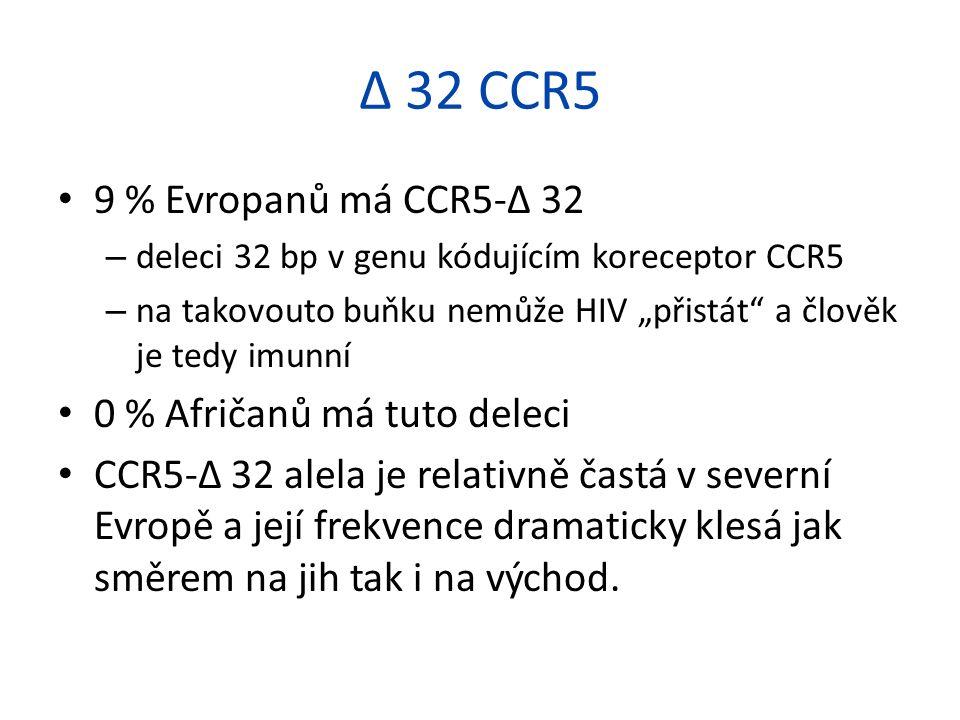 """9 % Evropanů má CCR5-Δ 32 – deleci 32 bp v genu kódujícím koreceptor CCR5 – na takovouto buňku nemůže HIV """"přistát a člověk je tedy imunní 0 % Afričanů má tuto deleci CCR5-Δ 32 alela je relativně častá v severní Evropě a její frekvence dramaticky klesá jak směrem na jih tak i na východ."""