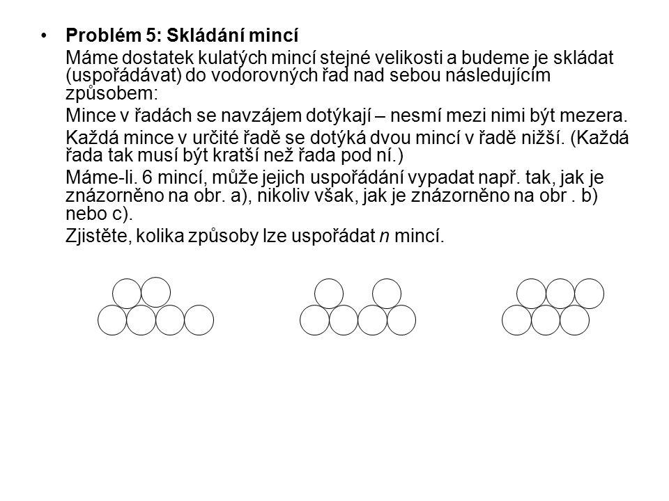 Problém 5: Skládání mincí Máme dostatek kulatých mincí stejné velikosti a budeme je skládat (uspořádávat) do vodorovných řad nad sebou následujícím zp
