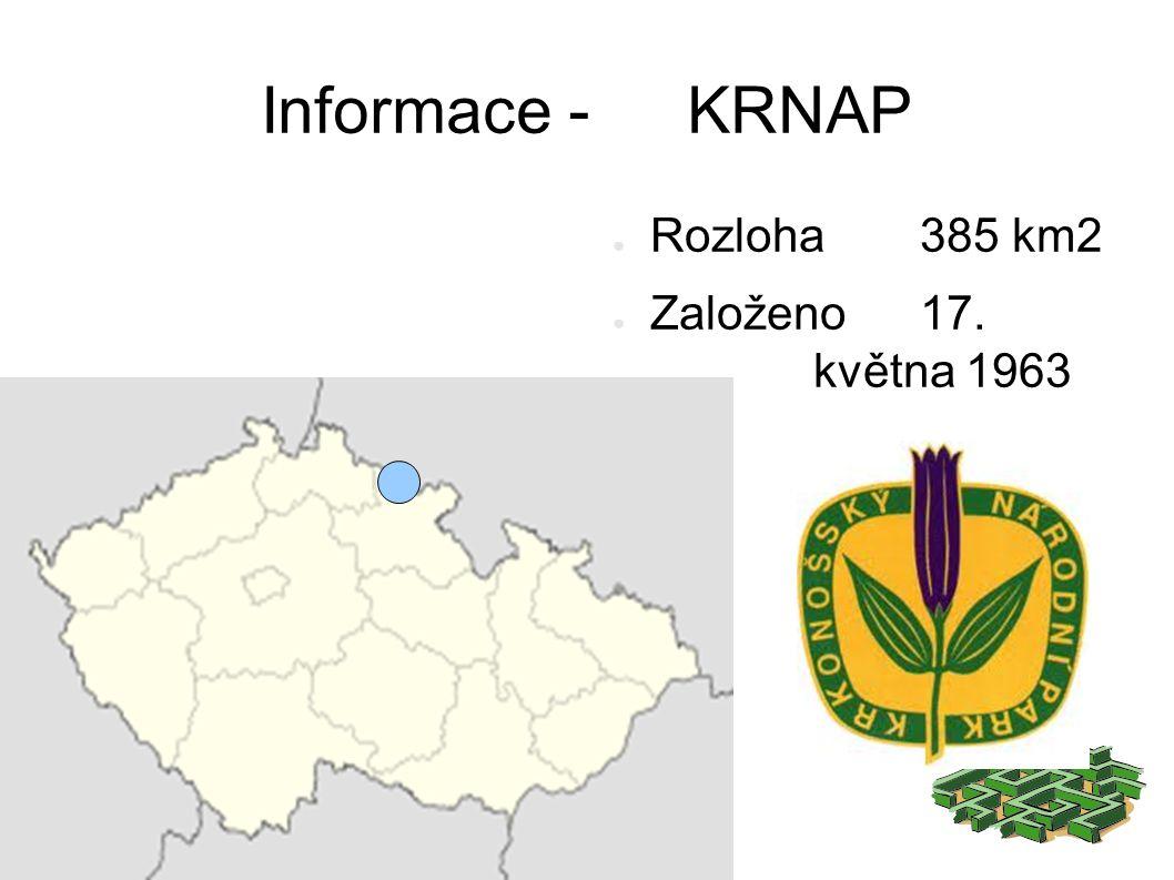 Informace - KRNAP ● Rozloha 385 km2 ● Založeno 17. května 1963