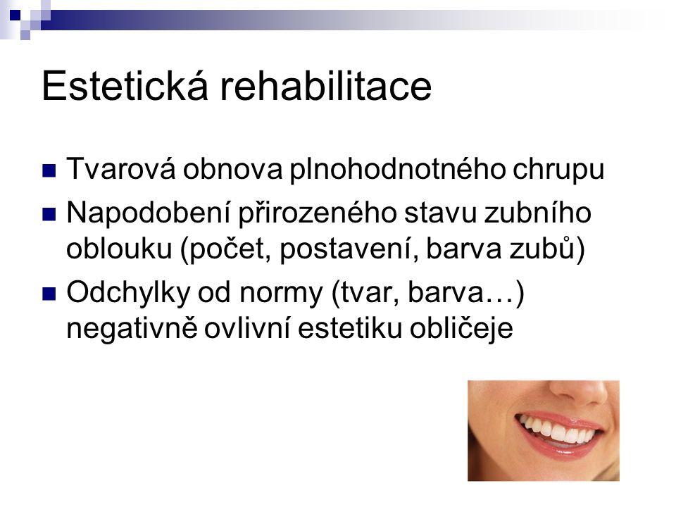 Estetická rehabilitace Tvarová obnova plnohodnotného chrupu Napodobení přirozeného stavu zubního oblouku (počet, postavení, barva zubů) Odchylky od normy (tvar, barva…) negativně ovlivní estetiku obličeje