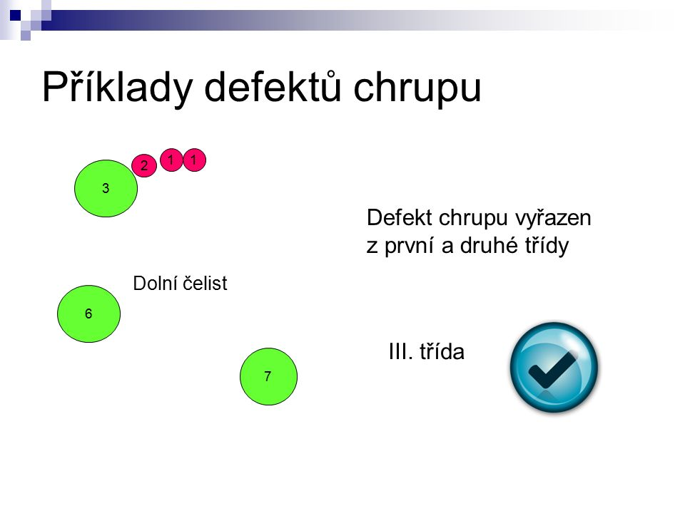 Příklady defektů chrupu 7 2 3 6 11 Dolní čelist Defekt chrupu vyřazen z první a druhé třídy III.